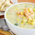 Curried Corn Chowder with Cilantro Shrimp