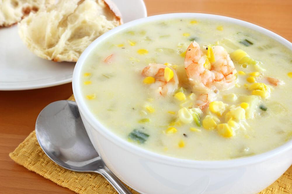Curried Corn Chowder with Cilantro Lime Shrimp - Mazopiya