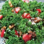 Hearty Kale Strawberry Salad and Lemon Basil Vinaigrette