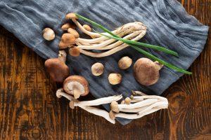 mushrooms on table cloth