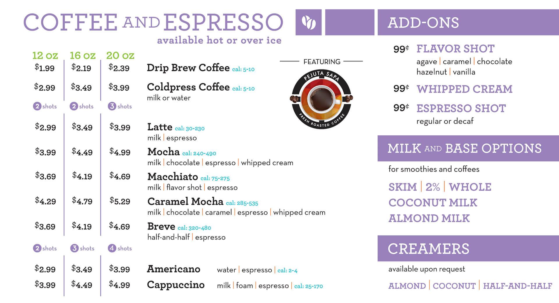 reFresh Coffee and Espresso Menu